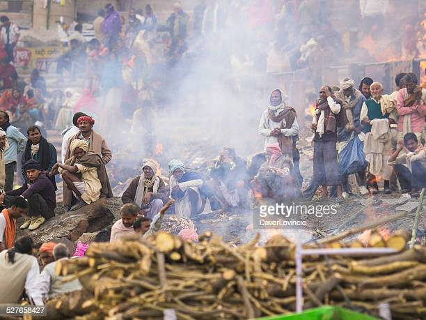 burning grounds - ganges river dead bodies stock photos and pictures