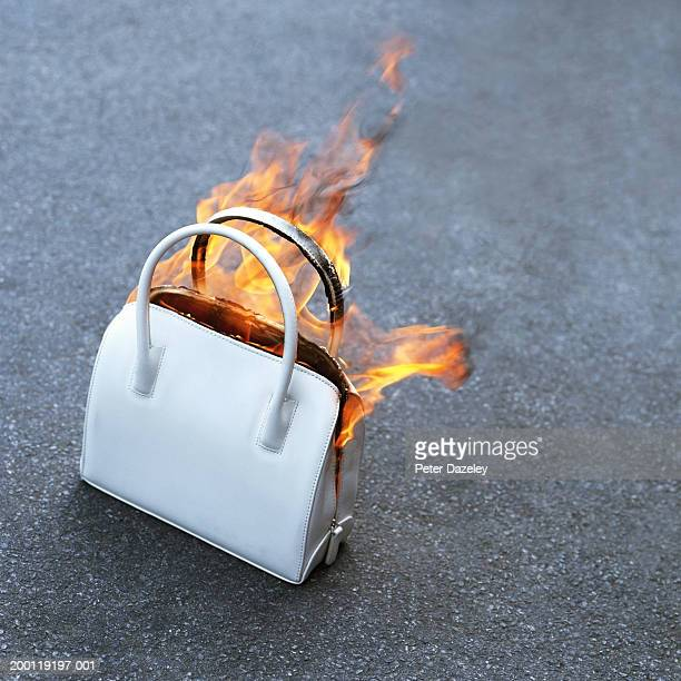 Burning handbag, close-up