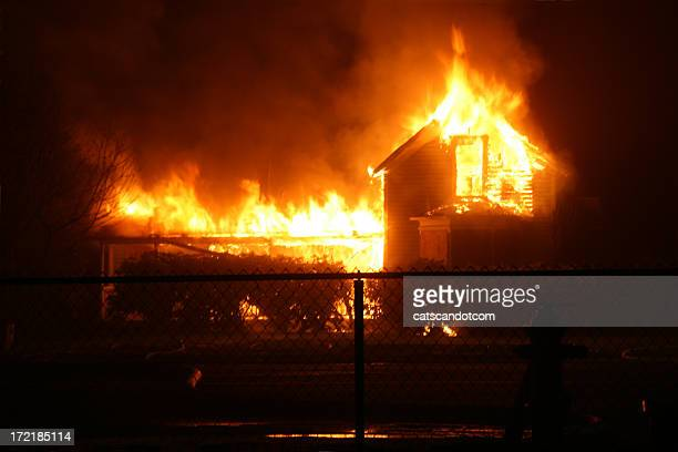 Burning House in Orting Valley at night