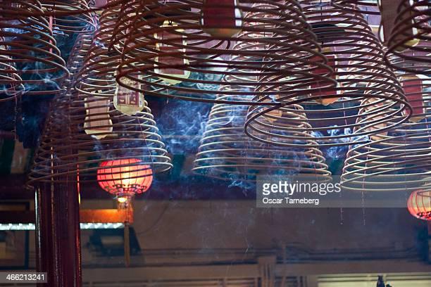 Burning incense coils, Hong Kong