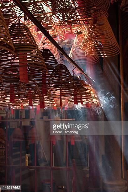 Burning incense coils, Man Mo Temple