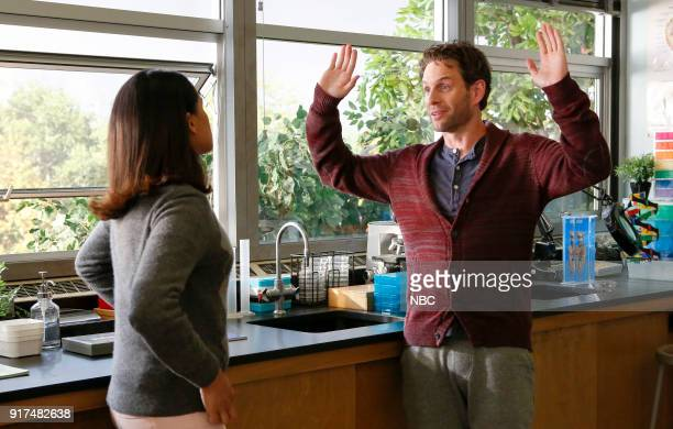 AP BIO 'Burning Miles' Episode 102 Pictured Aparna Brielle as Sarika Glenn Howerton as Jack Griffin