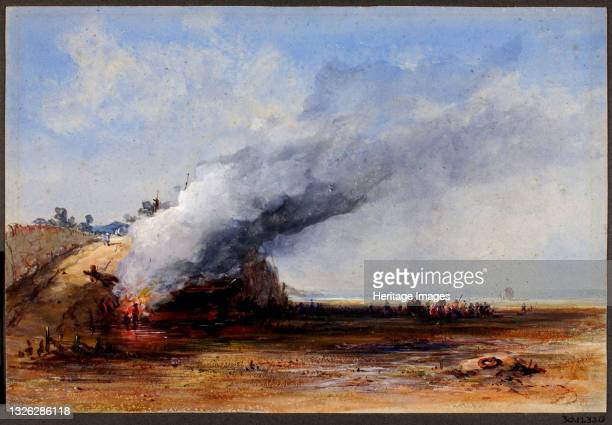 Burning of an Old Boat, 19th century. Artist Francis Danby.