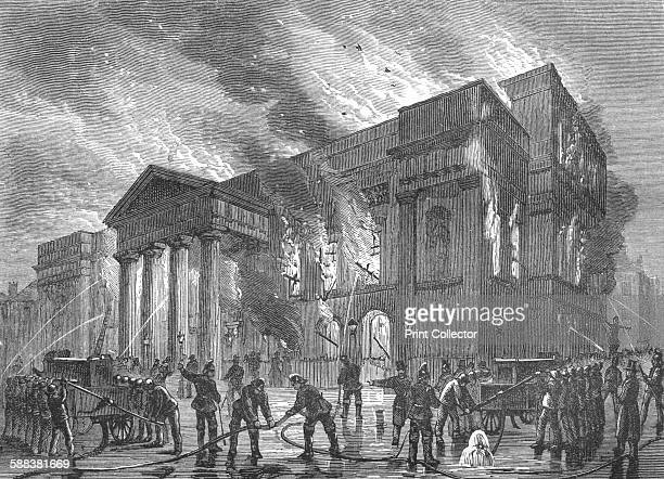 Burning of Covent Garden Theatre, 1856 . From Old and New London Vol III by Edward Walford. .