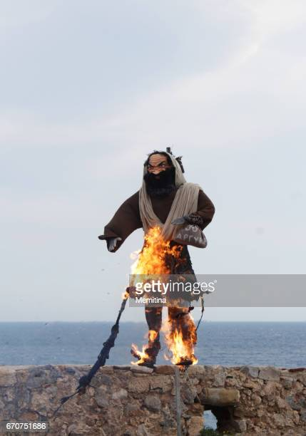 burning of judas iskariot greek easter ritual - easter orthodox stock photos and pictures