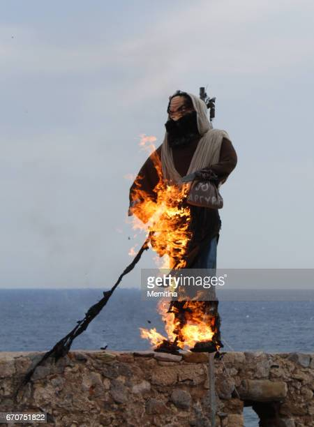 burning of judas iskariot greek easter ritual - greek orthodox easter stock pictures, royalty-free photos & images