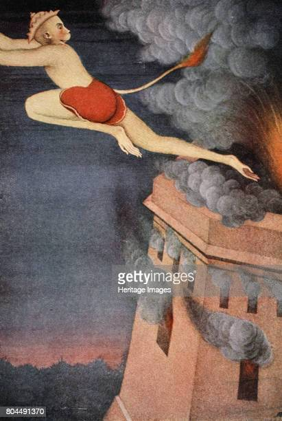 Burning of Lanka 1913 Hanuman burns the island of Lanka with his tail after it was set on fire by the Lankan demonking Ravana Illustration from Myths...