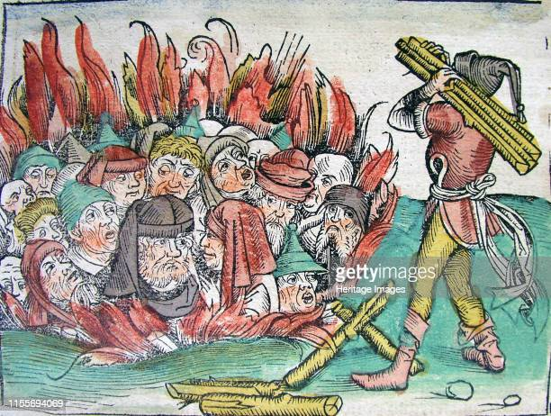 Burning of the Jews at Deggendorf in 1338 1493 Private Collection Artist Wolgemut Michael