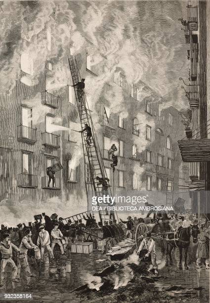 Burning of the tobacco factory firefighters intervening in Scoppettieri alley 1 December Naples Italy drawing by Edoardo Matania engraving from...