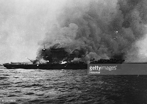 Burning of USS Lexington following Battle of Coral Sea May 8 1942