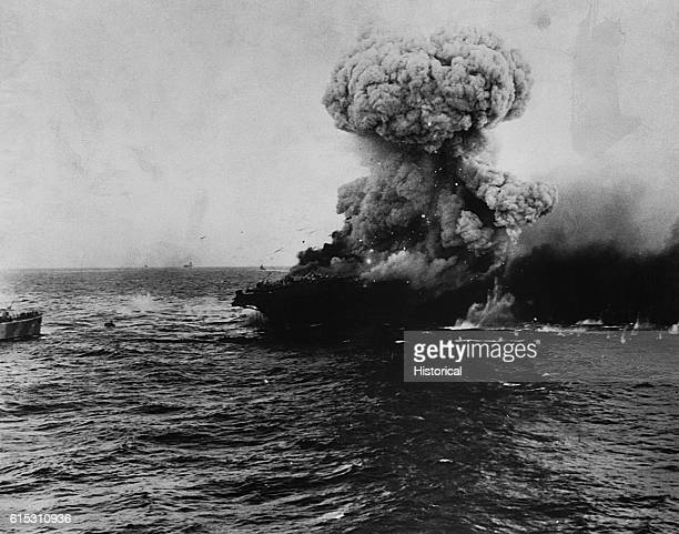 Burning of USS Lexington following the Battle of the Coral Sea May 8 1942