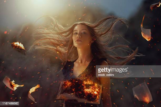 burning pages of life - fantasy stock pictures, royalty-free photos & images
