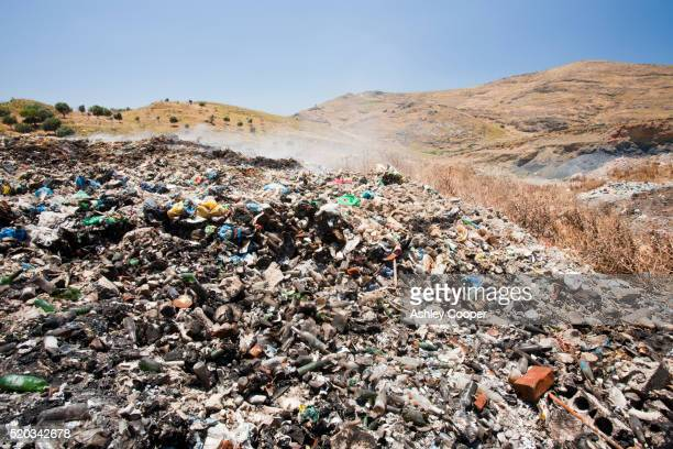 Burning plastic rubbish on a landfill site in Eresos, Lesbos, Greece.
