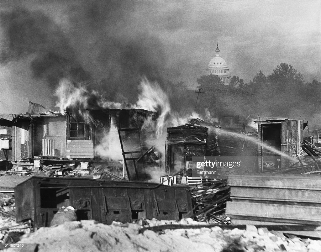 Shacks of Bonus Army Burning in Washington DC : News Photo