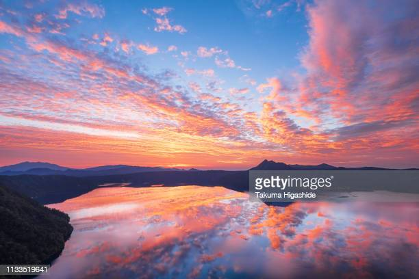 burning sky - 湖 stock pictures, royalty-free photos & images