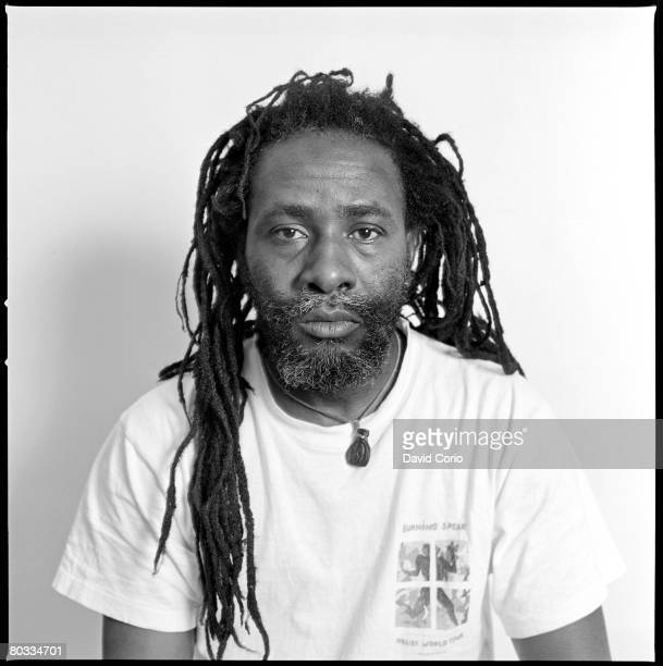 Burning Spear poses for a portrait session at the Kensington Garden Apartments on March 18 1987 in London England