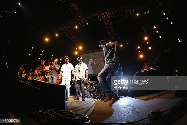 Burning Spear takes a bow after he performs at Nelson George's multimedia presentation 'Vote It Ain't Illegal Yet' during 2014 Celebrate Brooklyn at...