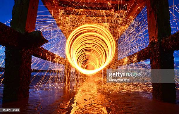 burning steel wool fireworks - prachuap khiri khan province stock pictures, royalty-free photos & images