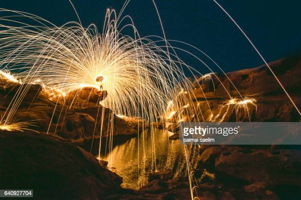 Burning steel wool fireworks, the grand canyon  of Thailand  (3000 bok)