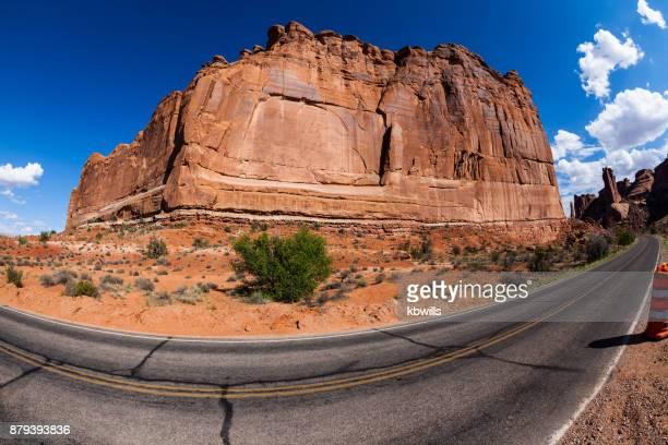 burning sun on sandstone mountain and desert landscape