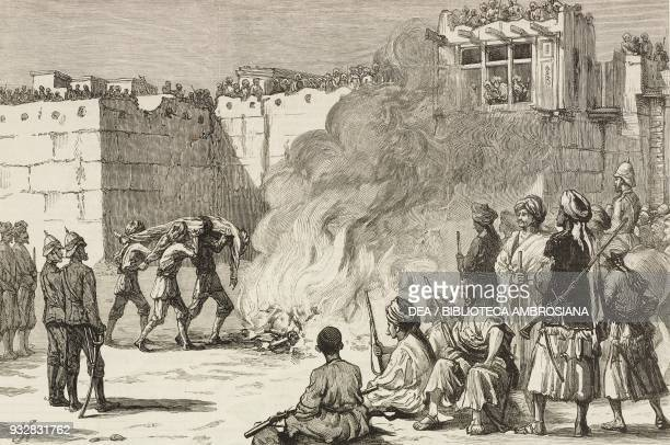 Burning the body of a Ghazi assassin outside the Peshawar Gate Jalalabad Afghanistan Second AngloAfghan War illustration from the magazine The...