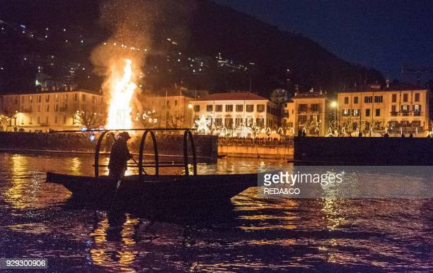 Burning the fire for the Pesa Vegia feast on January 8th Bellano Como Lake Lombardy Italy Europe