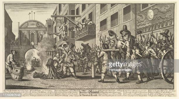Burning the Rumps at Temple Bar , 1725-68. Artist William Hogarth.