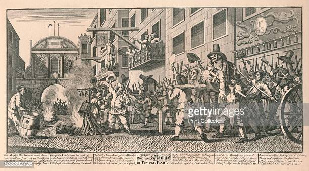 Burning the Rumps at Temple Bar London' from 'William Hogarth' by Austin Dobson 1904 The populace of London disgusted with the Rump Parliament which...
