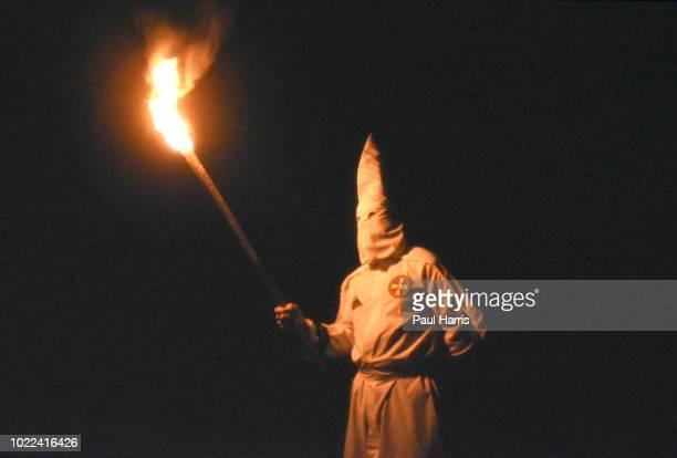 Burning torch at Ku Klux Klan gathering May 4 1989 in Stone Mountain Georgia