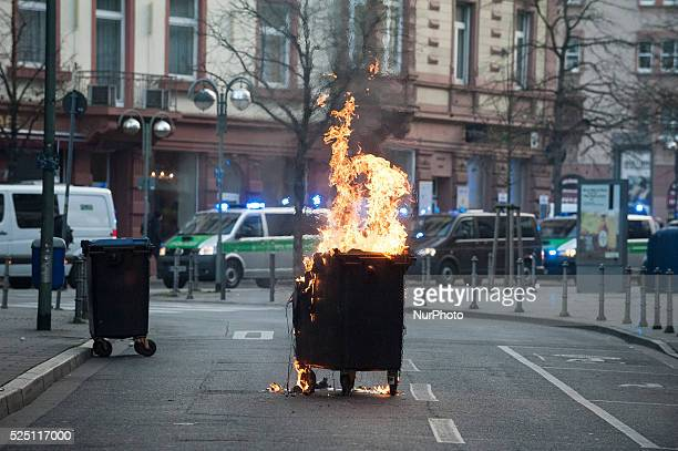 Burning trash on the opening day of the European Central Bank in Frankfurt am Main western Germany on March 18 2015 Supporters of the socalled...
