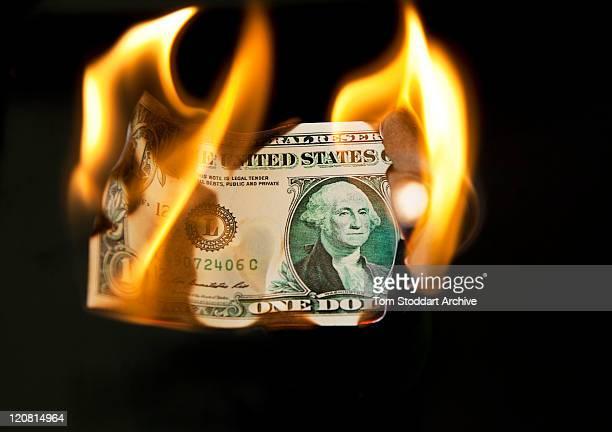A burning US dollar bill London 8th August 2011