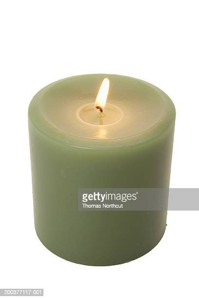 burning votive candle, elevated view - cero foto e immagini stock