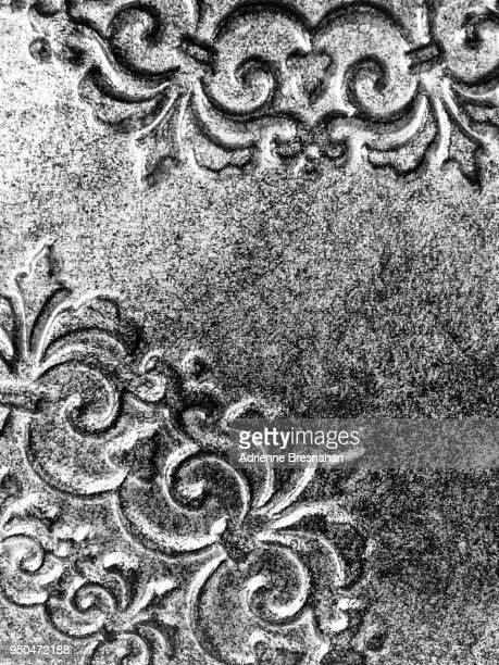 burnished scroll design silver metal surface - embellishment stock pictures, royalty-free photos & images