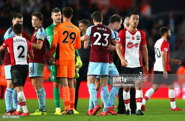 Burnley and Southampton teams shake hands following the Premier League match between Southampton and Burnley at St Mary's Stadium on November 4 2017...