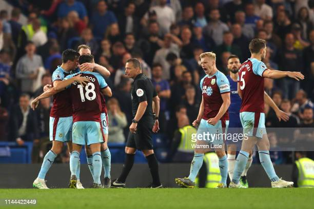 Burnley celebrate during the Premier League match between Chelsea FC and Burnley FC at Stamford Bridge on April 22 2019 in London United Kingdom