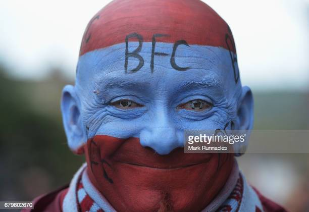 Burnley fan makes his way to the stadium prior to the Premier League match between Burnley and West Bromwich Albion at Turf Moor on May 6 2017 in...