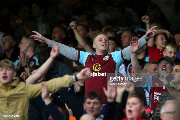 Burnley fans celebrate victory after the Premier League match between Everton and Burnley at Goodison Park on October 1 2017 in Liverpool England