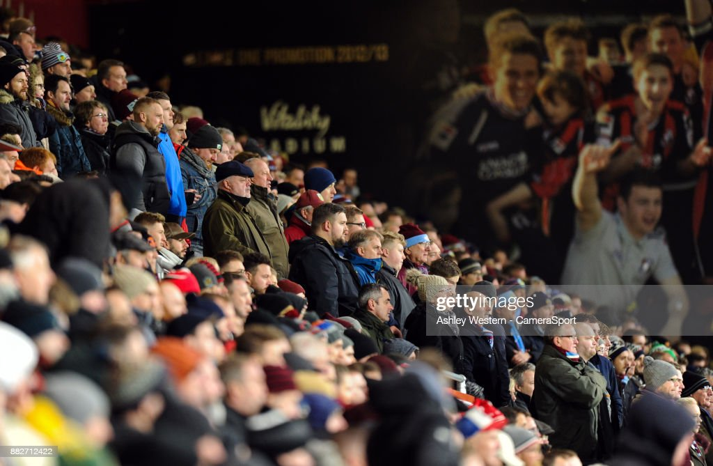 Burnley fans watch on in the second half as Bournemouth press for an equaliser during the Premier League match between AFC Bournemouth and Burnley at Vitality Stadium on November 29, 2017 in Bournemouth, England.