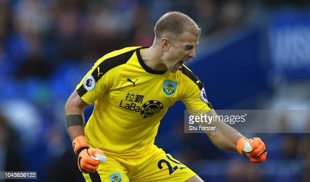 Burnley goalkeeper Joe Hart celebrates the winning goal during the Premier League match between Cardiff City and Burnley FC at Cardiff City Stadium...