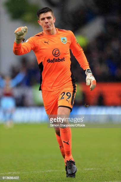 Burnley goalkeeper Nick Pope celebrates his side's equaliser during the Premier League match between Burnley and Manchester City at Turf Moor on...