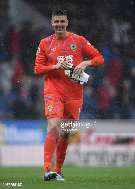 Burnley goalkeeper Nick Pope raises a smile after the Premier League match between Burnley FC and Southampton FC at Turf Moor on August 10 2019 in...