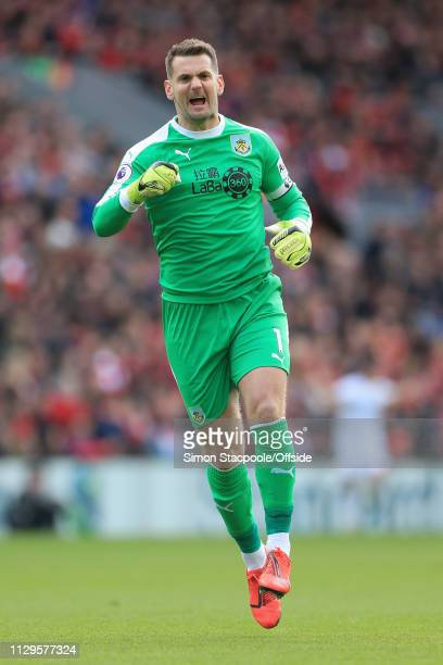 Burnley goalkeeper Thomas Heaton celebrates their opening goal during the Premier League match between Liverpool and Burnley at Anfield on March 10...