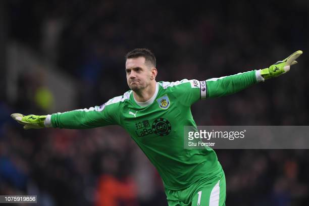 Burnley goalkeeper Tom Heaton celebrates the second goal during the Premier League match between Burnley FC and West Ham United at Turf Moor on...