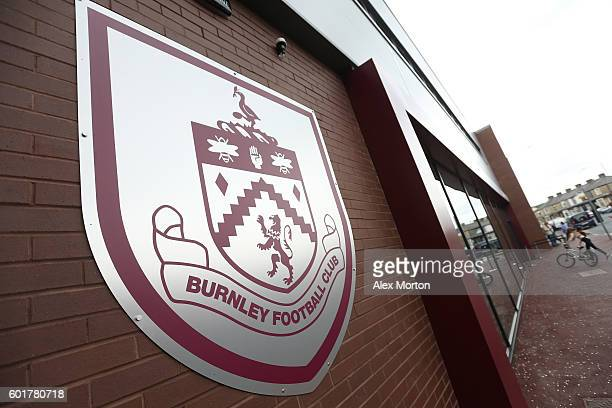 Burnley logo outside the stadium during the Premier League match between Burnley and Hull City at Turf Moor on September 10 2016 in Burnley England