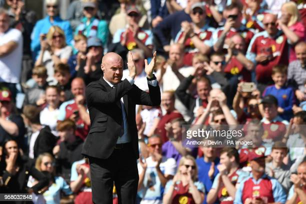 Burnley manager Sean Dyche applauds the fans during the Premier League match at Turf Moor Burnley