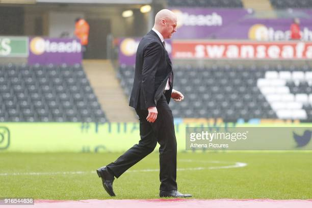 Burnley manager Sean Dyche arrives at Liberty Stadium prior to kick off of the Premier League match between Swansea City and Burnley at the Liberty...