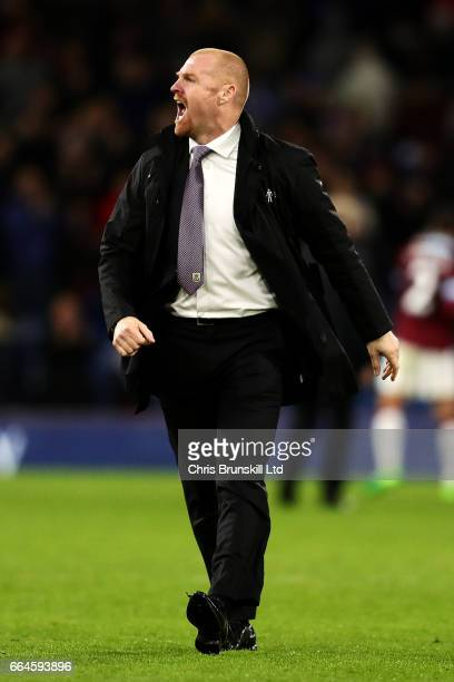 Burnley manager Sean Dyche celebrates at fulltime following the Premier League match between Burnley and Stoke City at Turf Moor on April 4 2017 in...