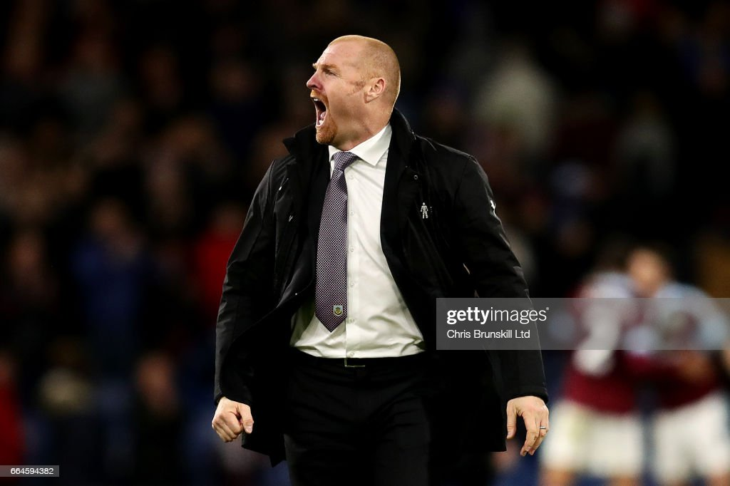 Burnley manager Sean Dyche celebrates at full-time following the Premier League match between Burnley and Stoke City at Turf Moor on April 4, 2017 in Burnley, England.