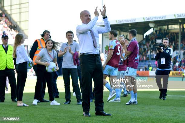 Burnley manager Sean Dyche during a lap of honour after the Premier League match at Turf Moor Burnley