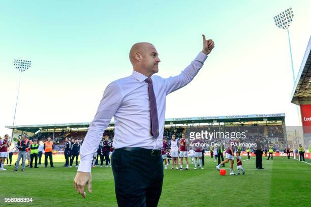 Burnley manager Sean Dyche during a lap of honour during the Premier League match at Turf Moor Burnley